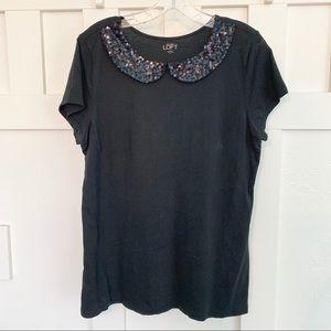 LOFT Black T-Shirt with Sequin Peter Pan Collar